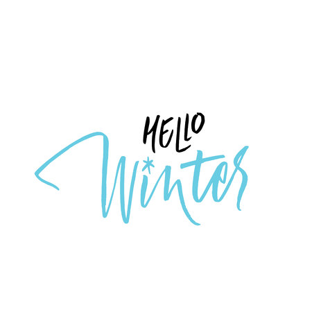 Written Hello Winter. Lettering, calligraphy black and blue