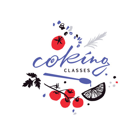 Handwritten for cooking classes with vector food and spoon