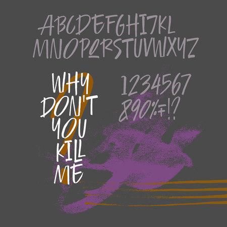 Handwritten calligraphic brush bold font Illustration