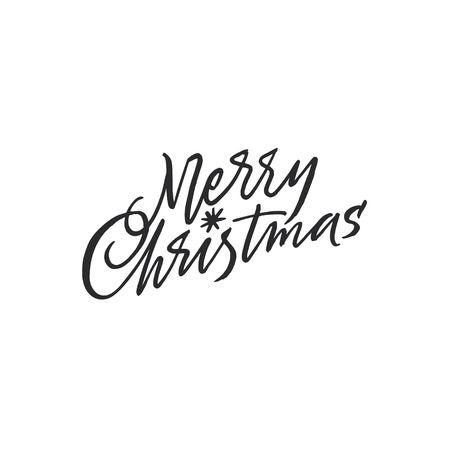 Merry Christmas lettering with a shiny star Illustration