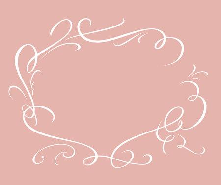 Calligraphic elegant vector frame in pink background