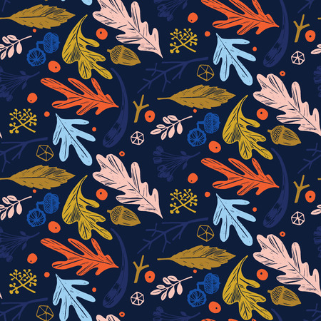 Autumn foliage seamless pattern in blue, orange, green and pink