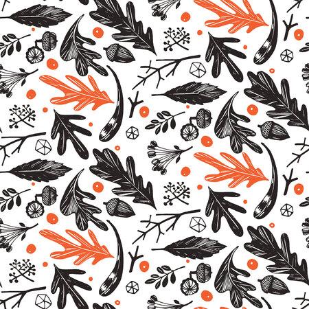 Autumn foliage seamless pattern in black and white, orange