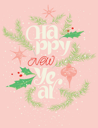 Happy new year card in pink and red. Gentle snowing Illustration