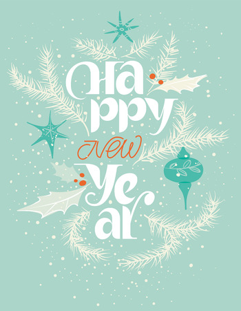 Happy new year card in blue and red. Gentle snowing Illustration