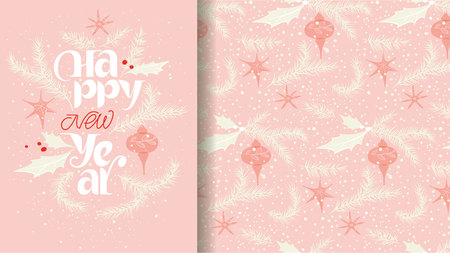 Happy new year card and pattern in blue and red. Gentle snowing