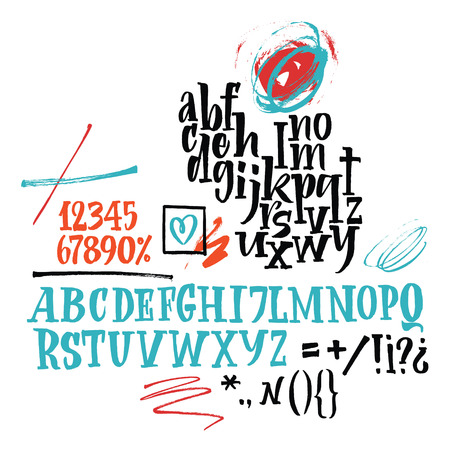 Vector alphabet. Hand drawn letters. Letters of the alphabet written with a brush. Swashes, pointer and blots.