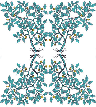 Oak tree pattern in medieval style in blue and mustard colors