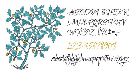Vector alphabet. Hand drawn letters. Letters of the alphabet written with a brush. Oak tree in the style of medieval manuscripts Illustration