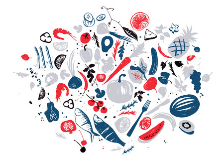 Set of food objects: sea food, vegetables and fruits. Healthy lifestyle eating. Farmers market. Blue and red