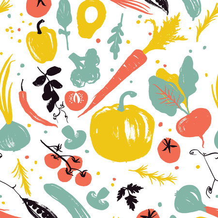 Vegetable pattern with pumpkin, carrot, onion, tomatoes and pepper.  Healthy lifestyle eating. Farmers market. Blue, red and yellow Illustration