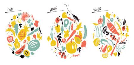 Ensemble de cadres alimentaires : fruits de mer, légumes et fruits. Mode de vie sain manger. Marché des fermiers. Bleu, rouge et jaune