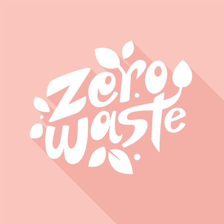 Zero waste lettering composition with leaves on pink background