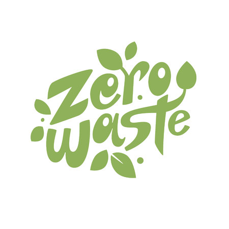 Zero waste lettering composition with leaves