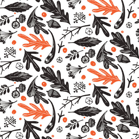 Autumn foliage seamless pattern in black and white, orange