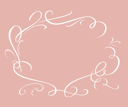 Calligraphic elegant vector frame in pink background