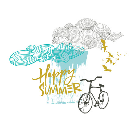 Happy summer card with clouds and bicycle in blue and mustard color Stock Vector - 113911486