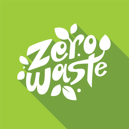 Zero waste lettering composition with leaves on green background