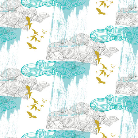 Cloud pattern with birds in blue and mustard Stock Vector - 113911582