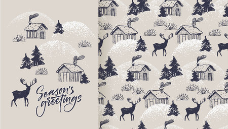 Season's greetings card and pattern with cozy village and deer Stock Vector - 113911579