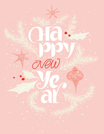 Happy new year card in pink and red. Gentle snowing Stock Vector - 113911573