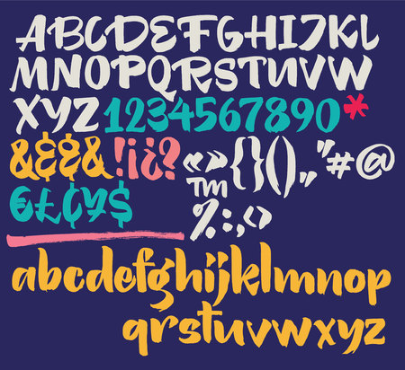 Vector alphabet. Hand drawn letters. Letters of the alphabet currency, ampersands and punctuation written with a brush.