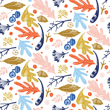 Autumn foliage seamless pattern in blue, orange, green and pink Stock Vector - 113911584