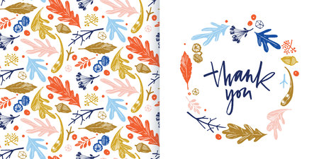 Autumn foliage seamless pattern in blue, orange, green and pink and thank you card
