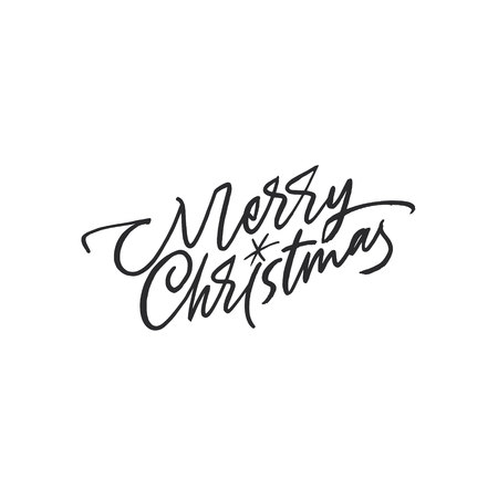 Merry Christmas lettering with a shiny star Stock Vector - 113911597