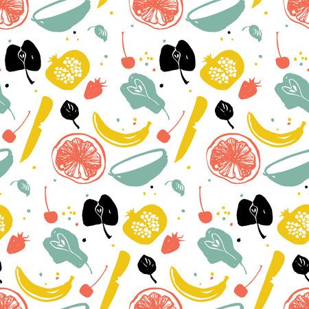 Fruit pattern with pear, banana, citrus and pomegranate. Healthy lifestyle eating. Farmers market. Blue, red and yellow Stock Vector - 113911596