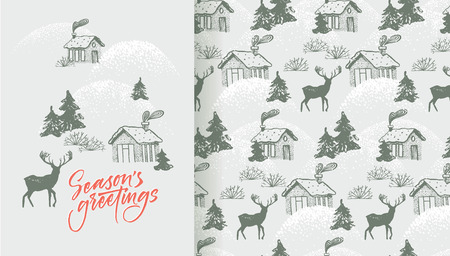 Season's greetings card and pattern with cozy village and deer Stock Vector - 113911789
