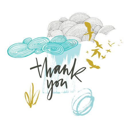 Thank you card with beautiful clouds and birds in blue and mustard colors Illustration