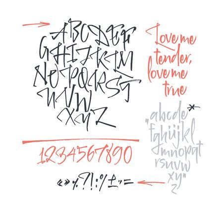 Handwritten script font. Brush font. Uppercase, numbers, punctuation Stock Vector - 113911793