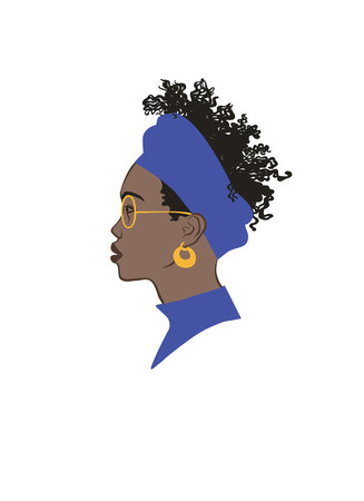 Black girl profile portrait. Black curly hair, blue headdress, gold earring and glasses Stock Vector - 113911807