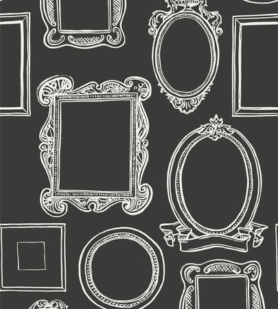 Rococo frames pattern. Black and white wallpaper Stock Vector - 113911796