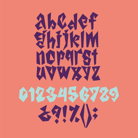 Bold geometric playful font in corral, violet and blue colors