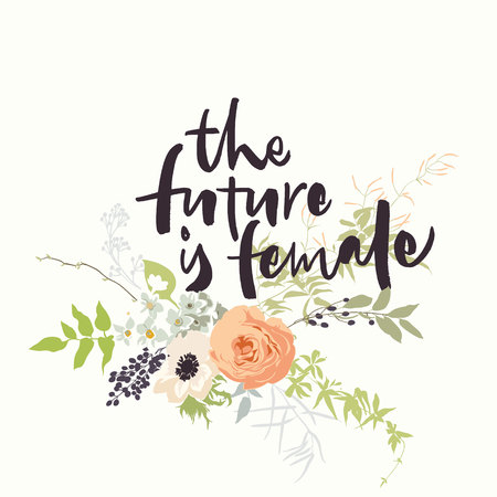 The future is female lettering with gentle flowers Stock Vector - 113911891
