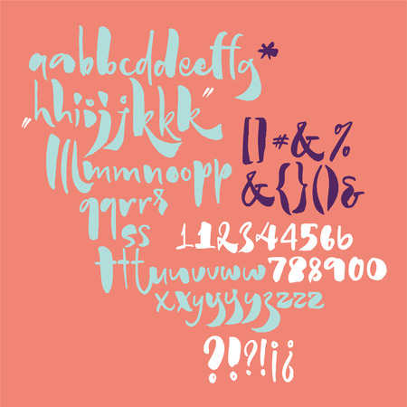 Bold calligraphic playful font with ink texture written with brush Stock Vector - 113911888