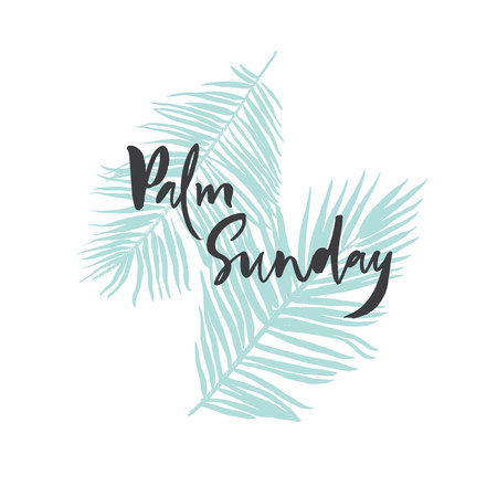 Palm Sunday card, poster, banner with blue palm leaves Stock Vector - 113911889