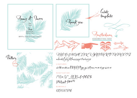 Handwritten brush font, wedding cards templates and set of arrows