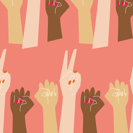 Go girl pattern with raised women hands in coral background Çizim
