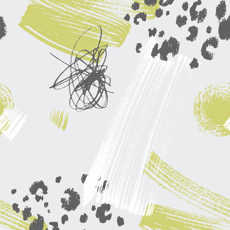 Abstract shifted in half of size seamless pattern in green and gray. Brash and nature textures Иллюстрация