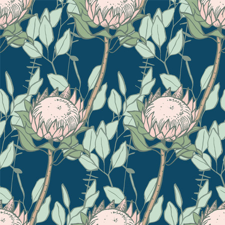 Protea and eucalyptus seamless pattern on blue background drawn with brush