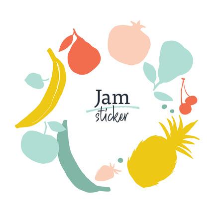 Jam labels template. Fruit silhouettes. Bon appetite Illusztráció
