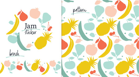 Fruit label template, pattern and brush in mint, yellow and red colors Ilustração
