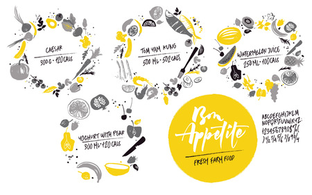 Set of food frames: sea food, vegetables and fruits. Healthy lifestyle eating. Farmers market. Shadows of gray and yellow