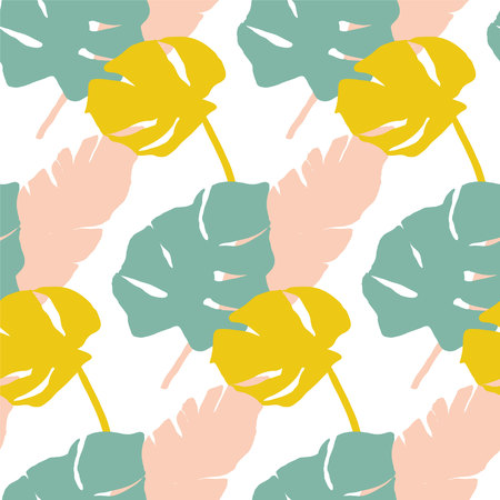 Tropical leaves pattern in mint, yellow and pink. Banana and monstera