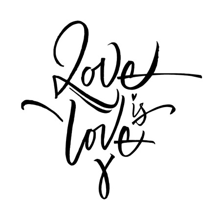 Love is love lettering black and white Illusztráció
