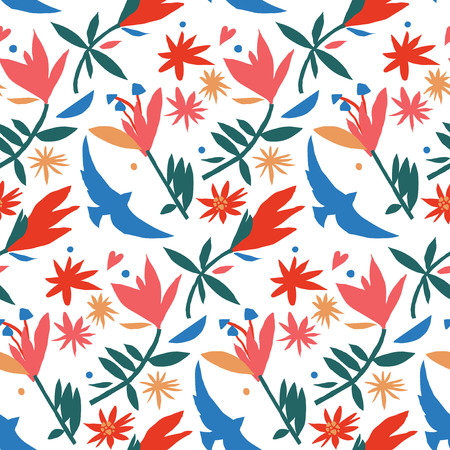 Mexican style paper cut colorful pattern with flowers and bird in red, pink, blue and green Ilustração