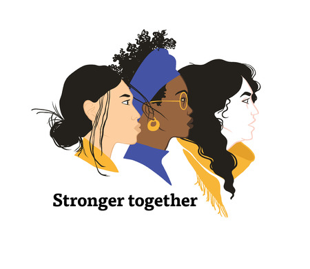 Stronger together. Girls solidarity. Equal rights for everyone. Feminism. Diversity